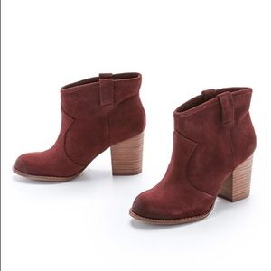 Splendid Lakota Suede Booties Cranberry Red 6.5